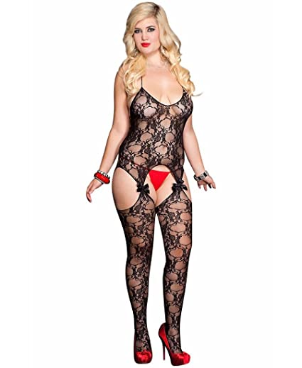 f68cae6a941 Image Unavailable. Image not available for. Color  Lace Suspender  Bodystocking