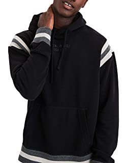 a2300f80660 American Eagle Mens Striped Jet Sleeve Raised AE Graphic Pullover Hoodie  Sweater Black