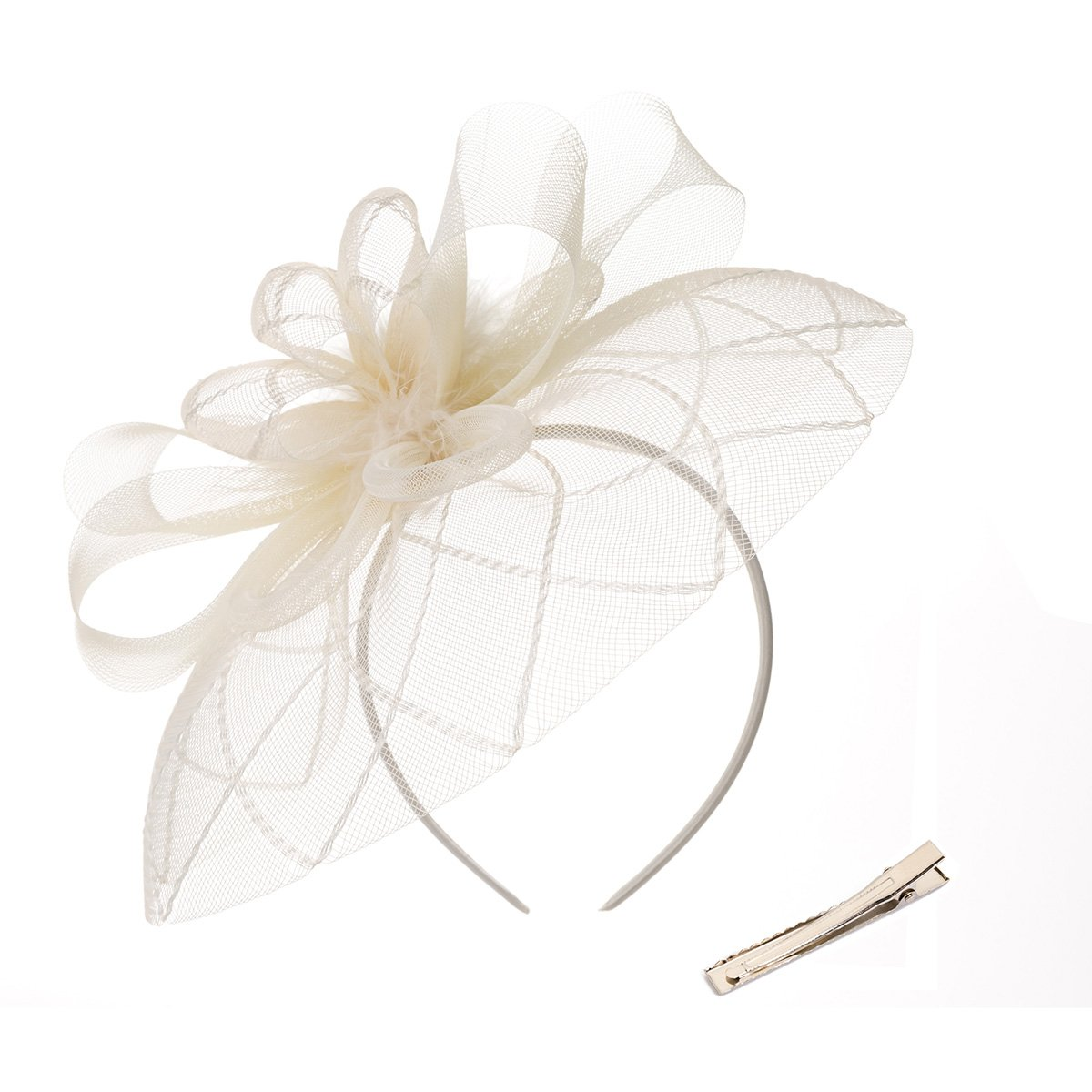 DancMolly Fascinator Clip for Women Feather Derby Hats Cocktail Tea Net Headband Mesh Party Veil (Beige 4)