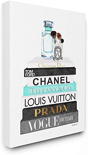 Stupell Industries Book Stack Perfume Brushes Glam Fashion Watercolor Canvas Wall Art, 30×40, Multi-Color