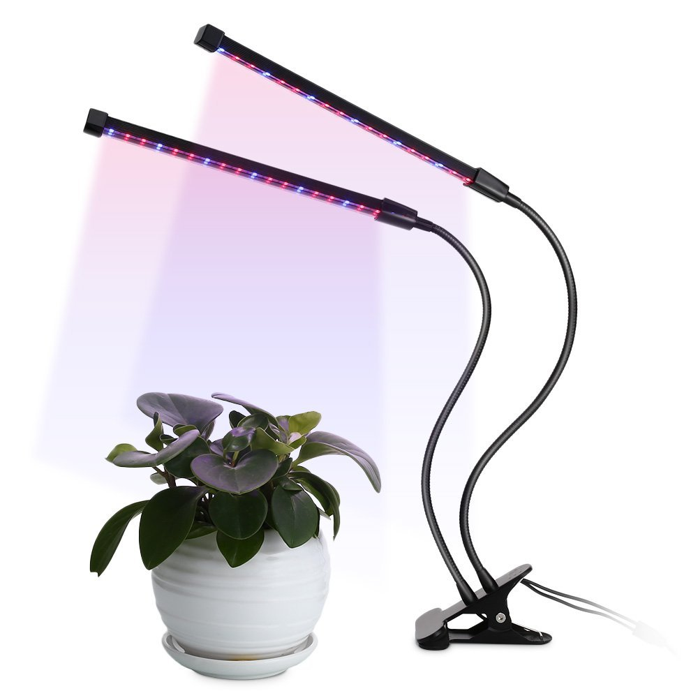 LED Plant Grow Light Dual Head 18W,5 Dimmable Levels, 3/6/12H Timer 64 LED Chips Timing Growing Light with Red/Blue Dimmable Spectrum Bulbs for Indoor and Greenhouse Plants, Adjustable Gooseneck