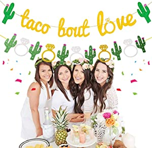 JeVenis Set of 2 Taco Bout Love Banner Taco Party Decoration Taco Banner Fiesta Decor for Fiesta Engagement Party Bachelorette Party or Wedding Shower Banner