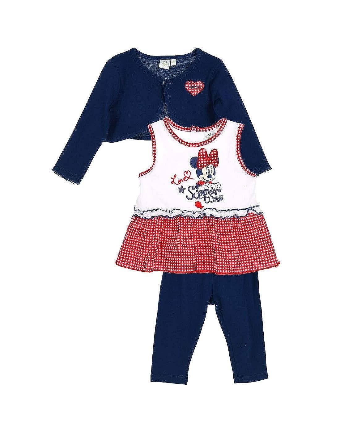 Minnie Ensemble Legging, Top et Gilet bébé Fille Rouge et Marine de 3 à 24mois Top et Gilet bébé Fille Rouge et Marine de 3 à 24mois E3PC-BF-MIN-AQE0013