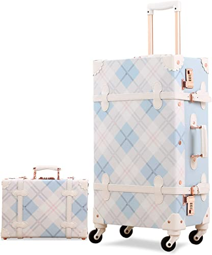 Unitravel Retro Luggage Sets 26 inch Vintage Women Cute Suitcase with 12 inch Train Case Plaid Light Blue