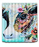 LB Colorful Animal Cow Shower Curtain Polyester Fabric Digital Printing Bath Curtain for Children 72x72 inch Bathroom Curtains Colorful India Temple Cow Mildew Resistant with Hooks