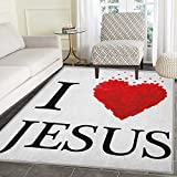 Modern Area Rug Carpet I Love Text and Shape Little Hearts Modern Typography Passion Faith Religion Living Dining Room Bedroom Hallway Office Carpet 4'x5' Red White Black