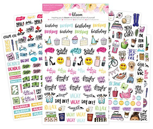 Bloom Daily Planners Productivity Planner Stickers - Variety Sticker Pack - Six Sticker Sheets per Pack! - 6 Sheet Calendar