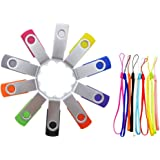 FEBNISCTE 10 Stück 2GB USB Stick Mehrfarbige USB 2.0 Speicherstick(Schwarz, Blau, Grün, Lila, Rot, Weiß, Grau, Orange, Gelb, Rose)
