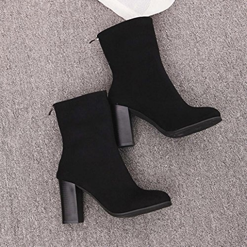 Faux Women Shoes Buckle Fashion Boots Heels 38 Ankle Boots Boots Martin by Women Black New NEARTIME Warm Ladies High Zq0w1