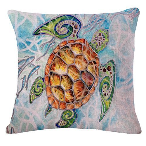 "The Animal Watercolor painting sea turtle Throw Pillow Case Cushion Cover Decorative Cotton Blend Linen Pillowcase for Sofa 18 ""X 18 "" ¡­"