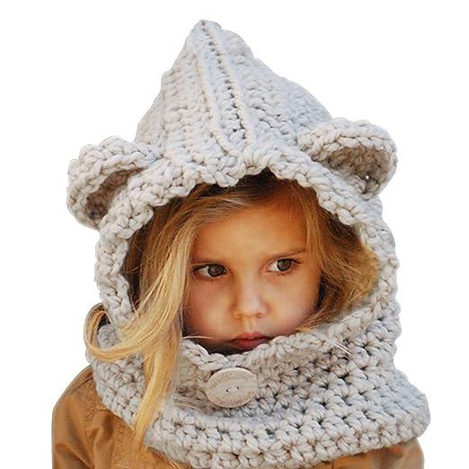 Baby Girls Boys Winter Hat Scarf Earflap Hood Scarves Skull Caps (Grey(2- 5335aab93262