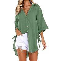 Xmiral T-shirt tops dames lange knoop shirt effen losse wilde blouse grote maat