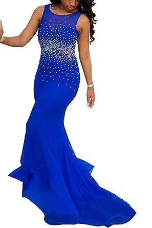 Utamall Royal Blue Open Back Mermaid Prom Dress