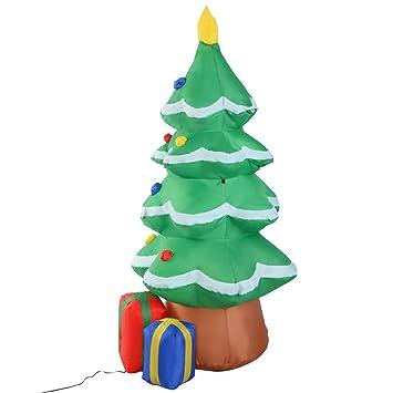 tangkula 4 ft airblown christmas tree inflatable outdoor patio holiday lighted christmas decor
