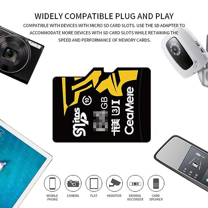 H&T Tarjeta Micro SD + Adaptador SD, Tarjeta De Memoria Clase 10 ...