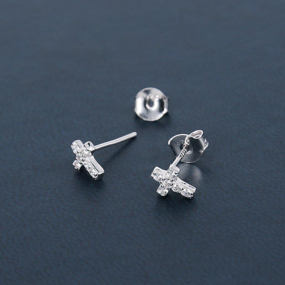 AoedeJ Cross Stud Earrings Sterling Silver Cubic Zirconia Religious Cross Earrings Stud for Women and Men