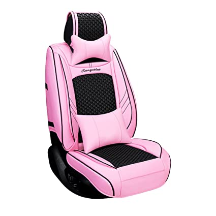 Amazoncom Seemehappy Charming Pink Black Car Seat Covers Set Faux