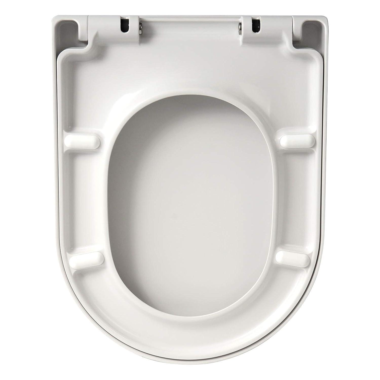 D Shape Toilet Seat White Soft Slow Close Hinge Quick Release Toilet Seat