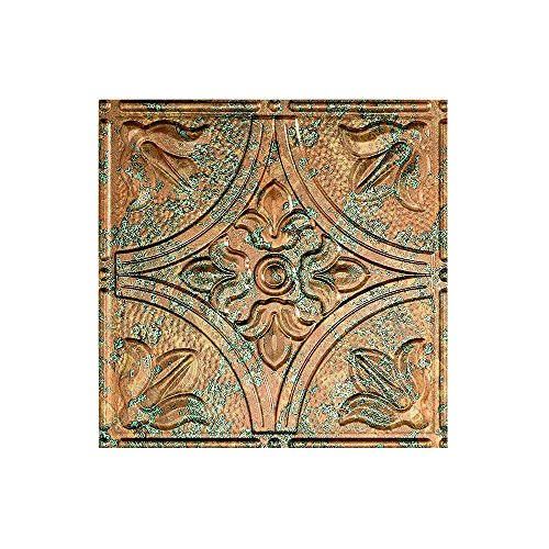 12x12 Ceramic Tile - Fasade Easy Installation Traditional 2 Copper Fantasy Glue Up Ceiling Tile / Ceiling Panel 12x12 Inch