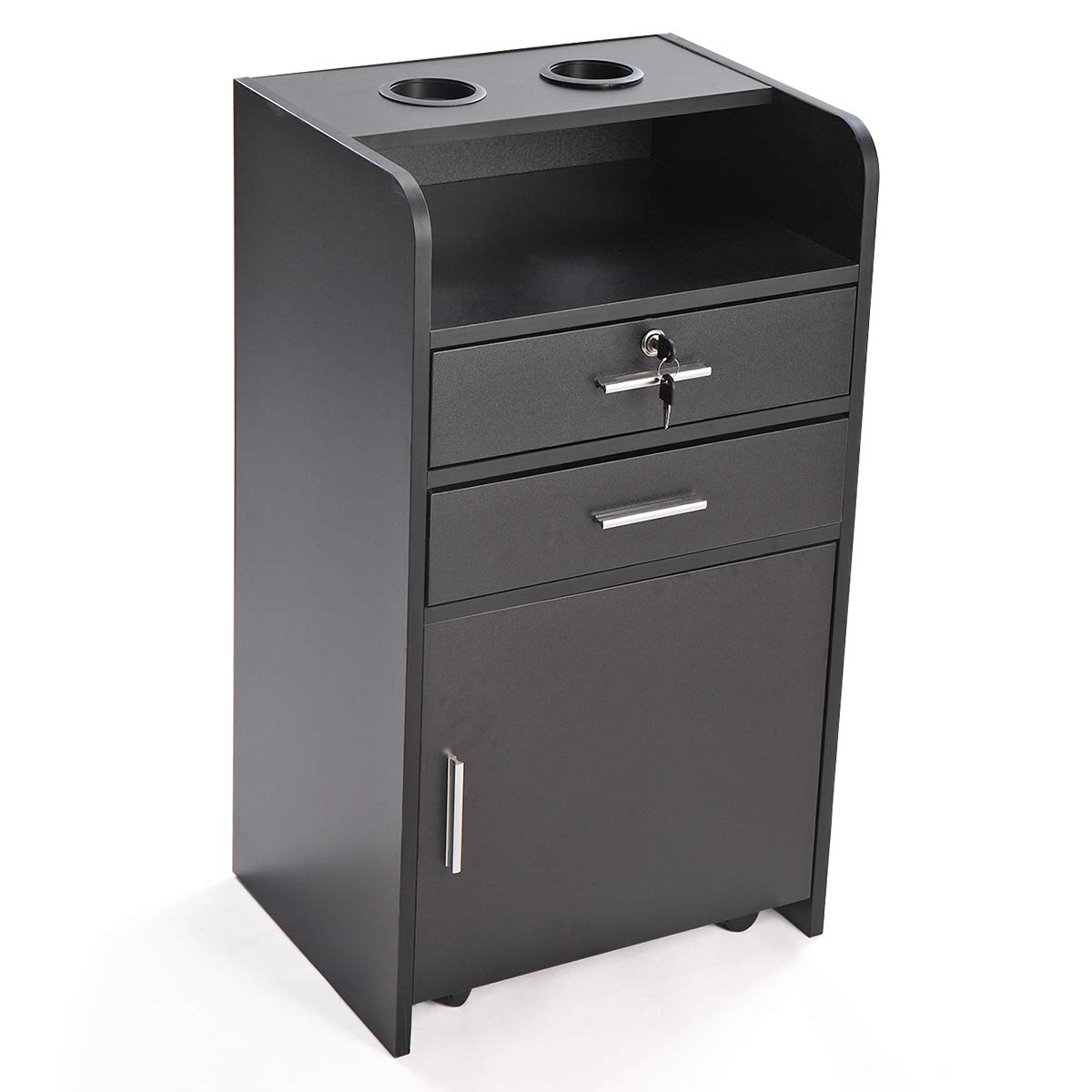 LAZYMOON Salon Station Locking Rolling Drawer Trolley3-layer Cabinet Beauty Utility Tool Holders Black
