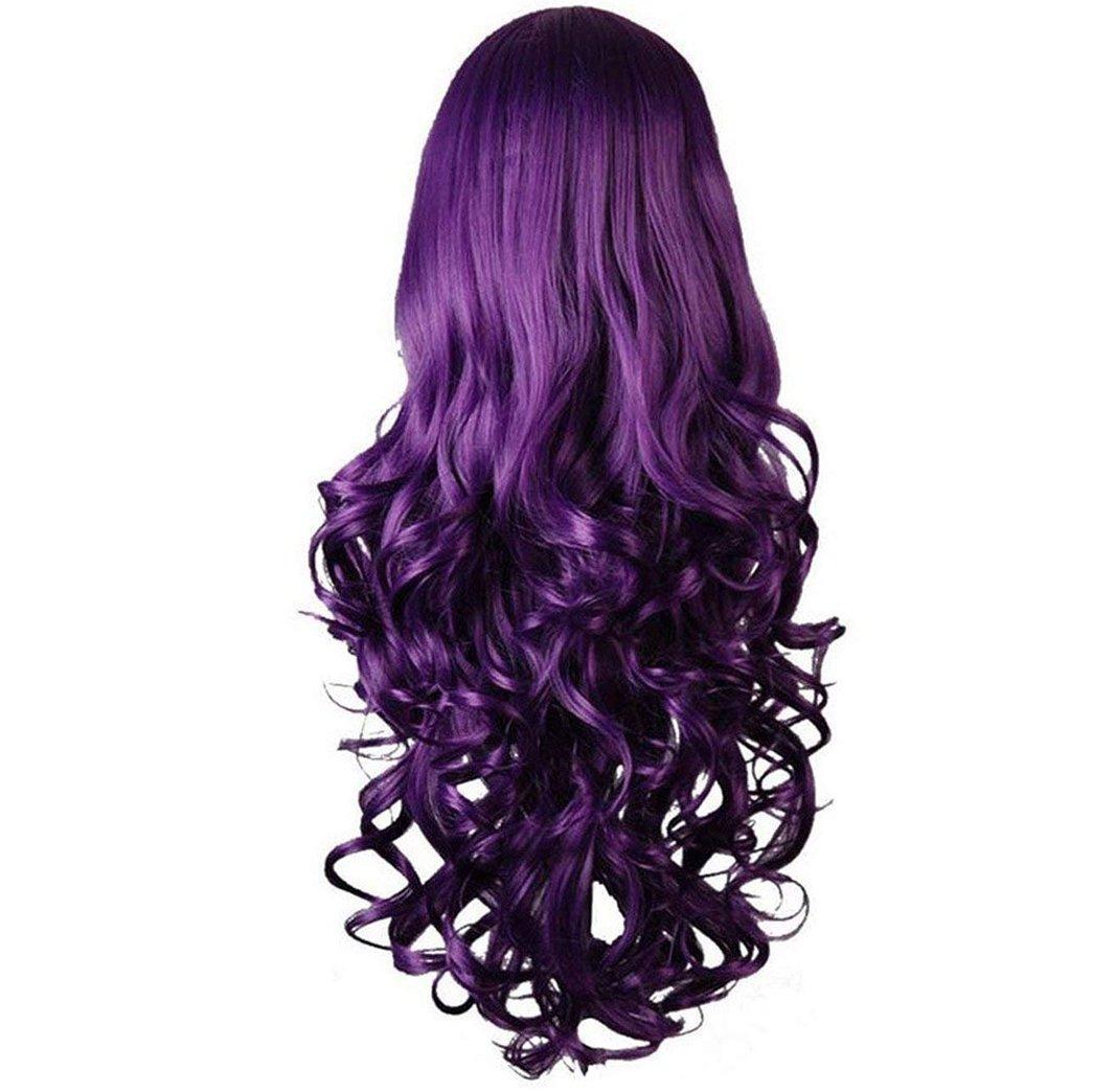 Purple Curly Cosplay Wigs 80cm, Marrywindix Halloween Cosplay Long Hair Heat Resistant Spiral Costume Wigs Purple32