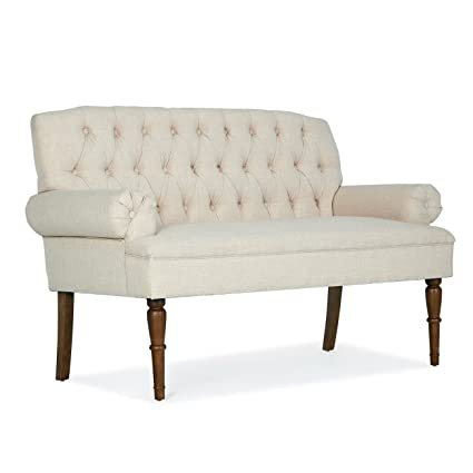 Amazon.com: Beige Button Tufted Settee Vintage Sofa Bench ...