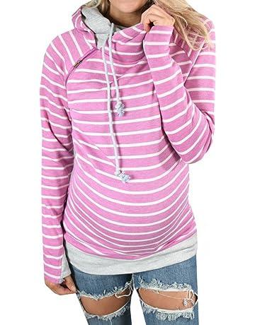 Hibote Damen Kapuzenpullover Lange Ärmel Pullover Herbst Mode Gestreift  Oberbekleidung Lässiges Sweatshirt Hoodies Pullover Tops 743d6f3293