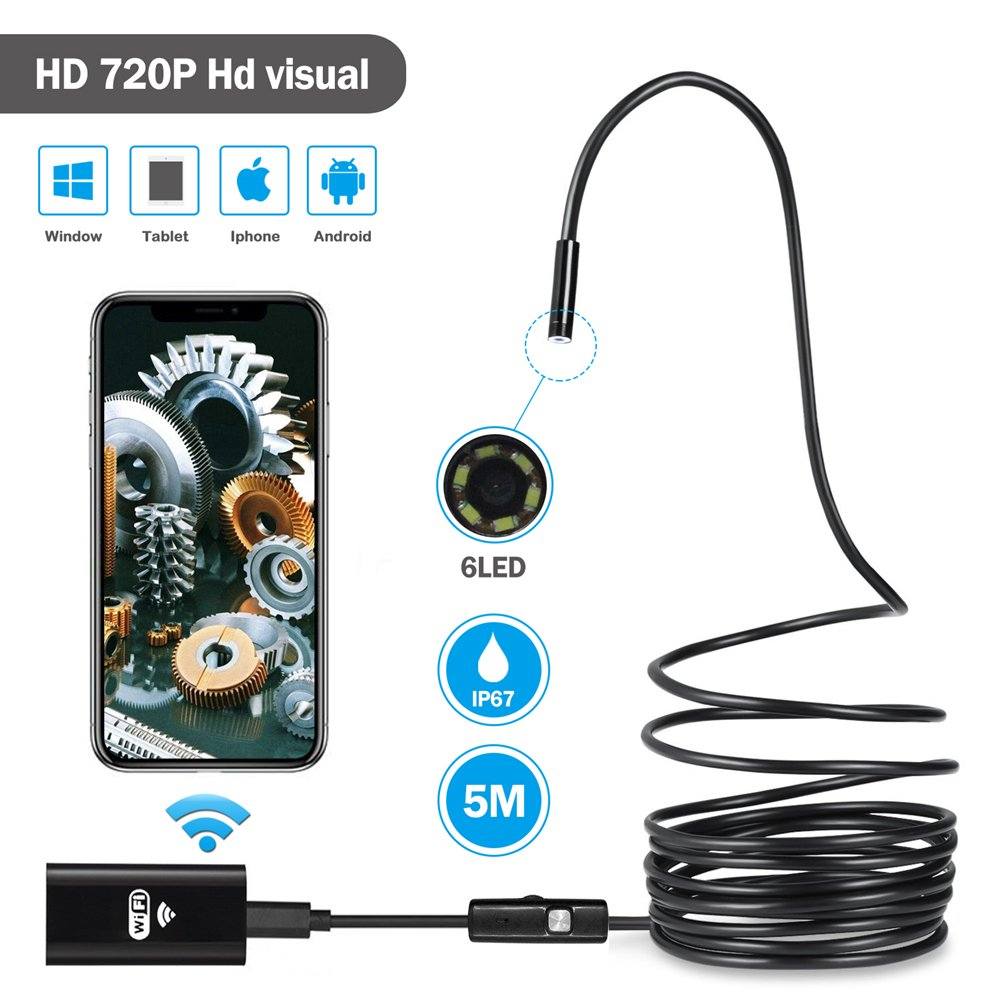 Wireless Endoscope Youngzuth WiFi Borescope Inspection Camera 2.0 Megapixels HD Snake Camera for Android and IOS Smartphone iPhone Samsung Tablet - Black(16.5FT/5M) by Youngzuth