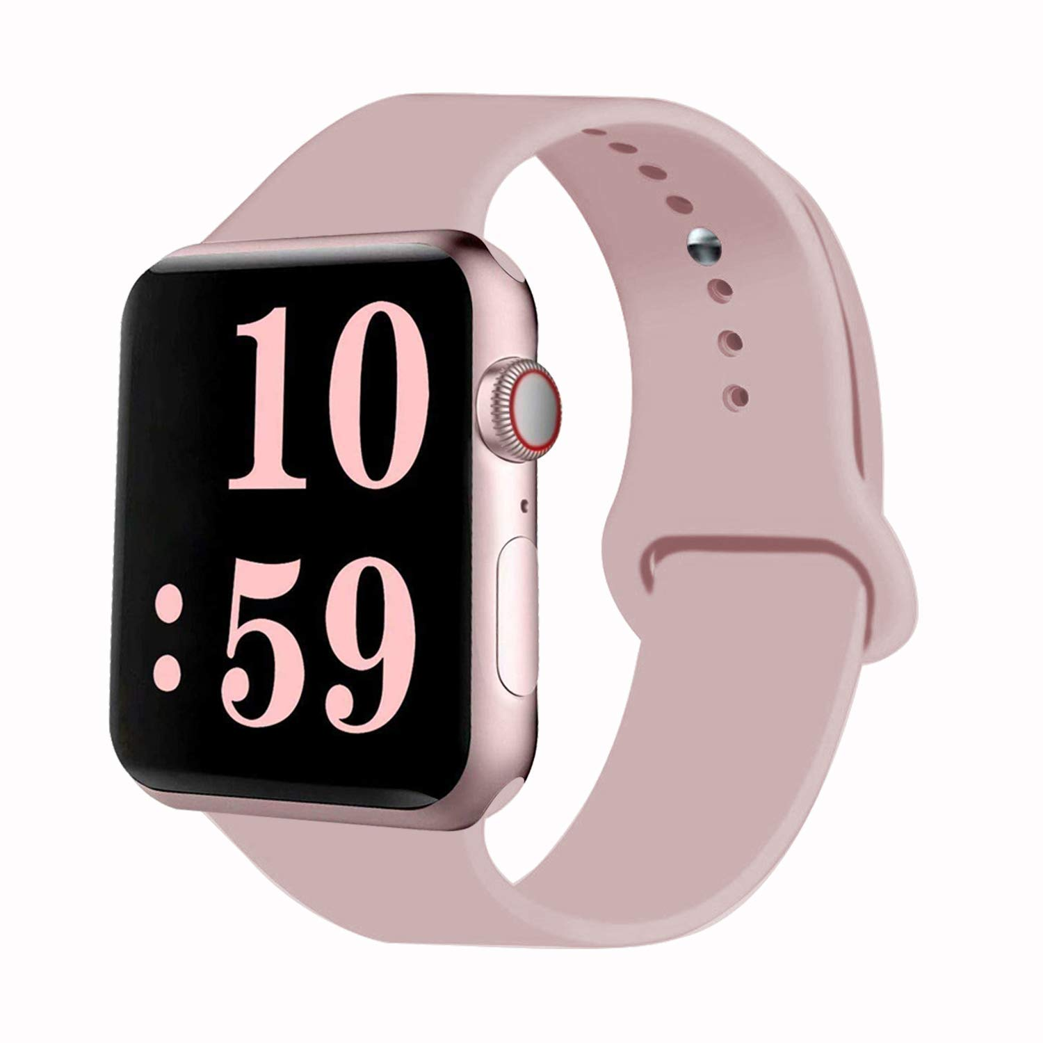 VATI Sport Band Compatible with Watch Band 40mm 44mm 42mm 38mm, Soft Silicone Sport Strap Replacement Bands Compatible with 2018 Watch Series 4/3/2/1, 38MM 40MM S/M (Pink Sand)