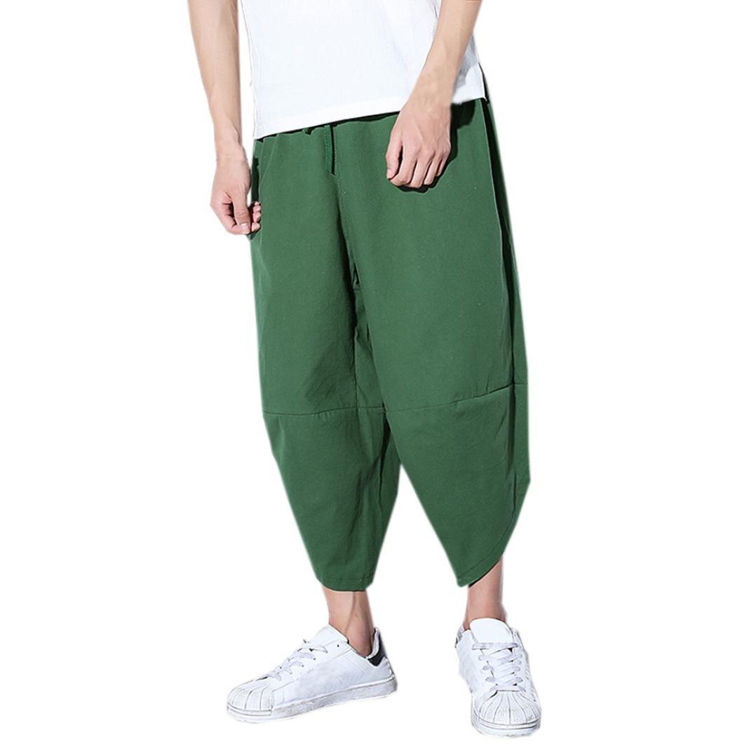 Willsa Men'Shorts,WillsaTrendy Mens Loose Pants Casual Pocket Cotton Linen Pants Ankle Length Trouser
