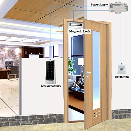uoweky Toque Control de Acceso de Metal Teclado Lector de Tarjetas RFID Cerradura de la Puerta Sistema de Control de Acceso Modelo de Plata + 10 Botones (C10+Llavero): Amazon.es: Industria, empresas y