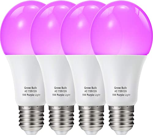 4 Pieces 9W 110V E26 LED Growing Light Bulb Plant Grow Lamp Bulb Purple Growing Bulb for Indoor Plants, Flower, Garden Plants, Vegetables Accessories