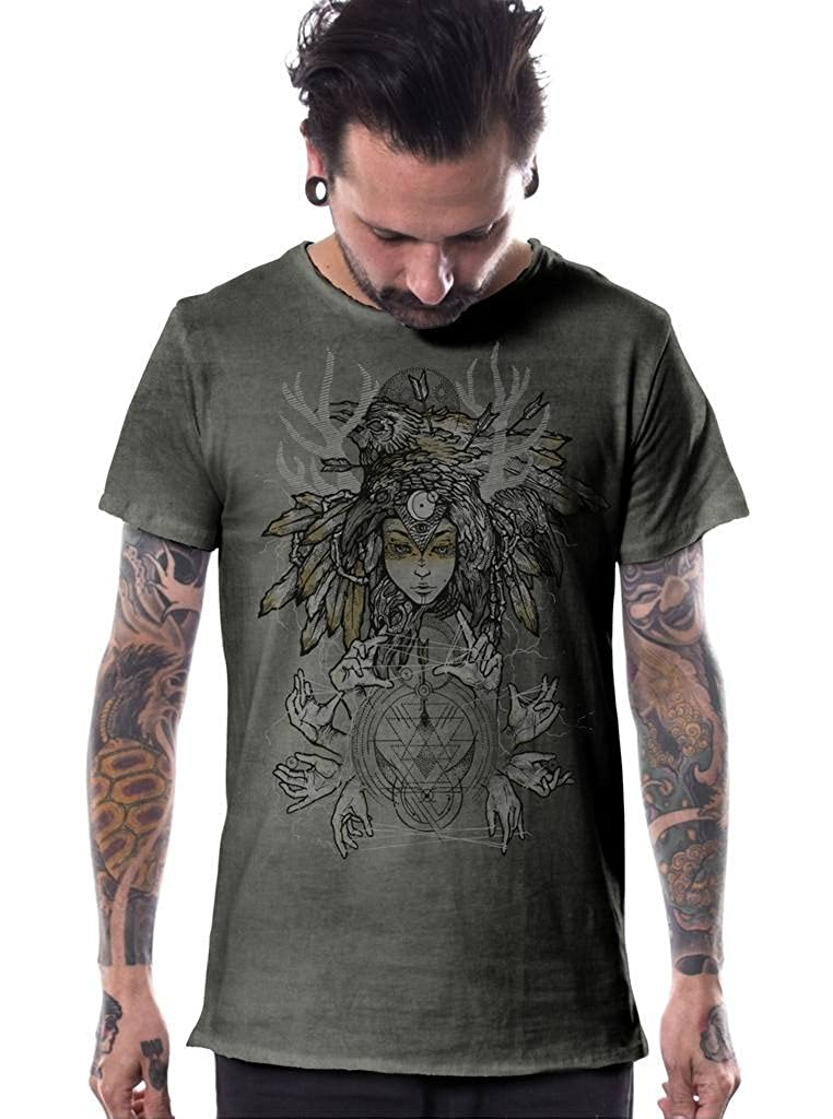 3bc6db16b94d3 Casual tie dye army green t-shirt for men with an all over front print