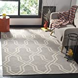 Safavieh Dhurries Collection DHU559G Hand Woven Grey and Ivory Premium Wool Area Rug (4' x 6')