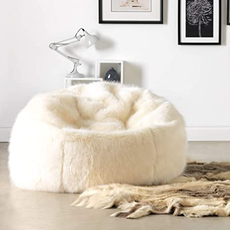 6dd579afd533 icon Faux Fur Bean Bag Chair - Natural Spikey Cream - Extra Large ...