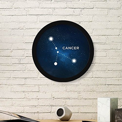 Cancer Zodiac Frame (Cancer Constellation Zodiac Sign Round Picture Frame Art Prints of Paintings Home Wall Decal Gift)