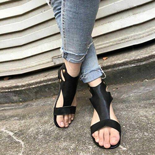 DEELIN Sommer Sandalen Mode Freizeitschuhe Damen Schwarz Flache Schuhe Römische pSrPwp