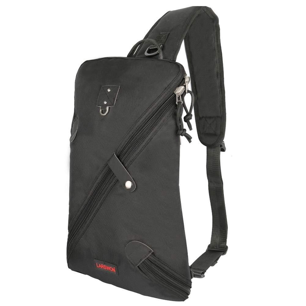 Larswon Sling Bag, Lightweight Large Chest Bag Laptop Backpack Shoulder Bag for Men Women Black