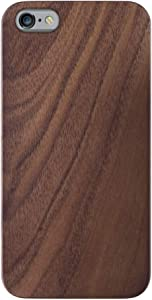 iATO iPhone 6s/6 Wood Case. Real Walnut iPhone 6s/6 Case Wood. Minimalistic Classy Dark Wood iPhone 6/6s Case – Real Natural Wooden Overlay & Black Polycarbonate Bumper for 4.7