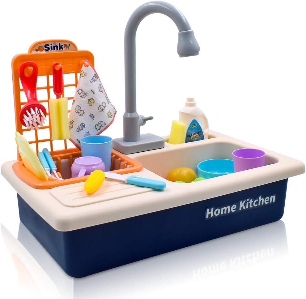 Acelane Juguetes de Cocina con Circuito de Agua, Lavavajillas, Fregadero, Juego de rol para Niños, Niñas y Niños de 3 a 6 Años