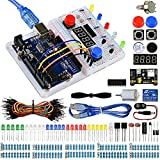 Miuzei Basic UNO R3 Kit for Arduino Starter with Uno R3 Board, Breadboard, Motor, Sensors, Jump Wire, LEDs Kit and Detailed Tutorials