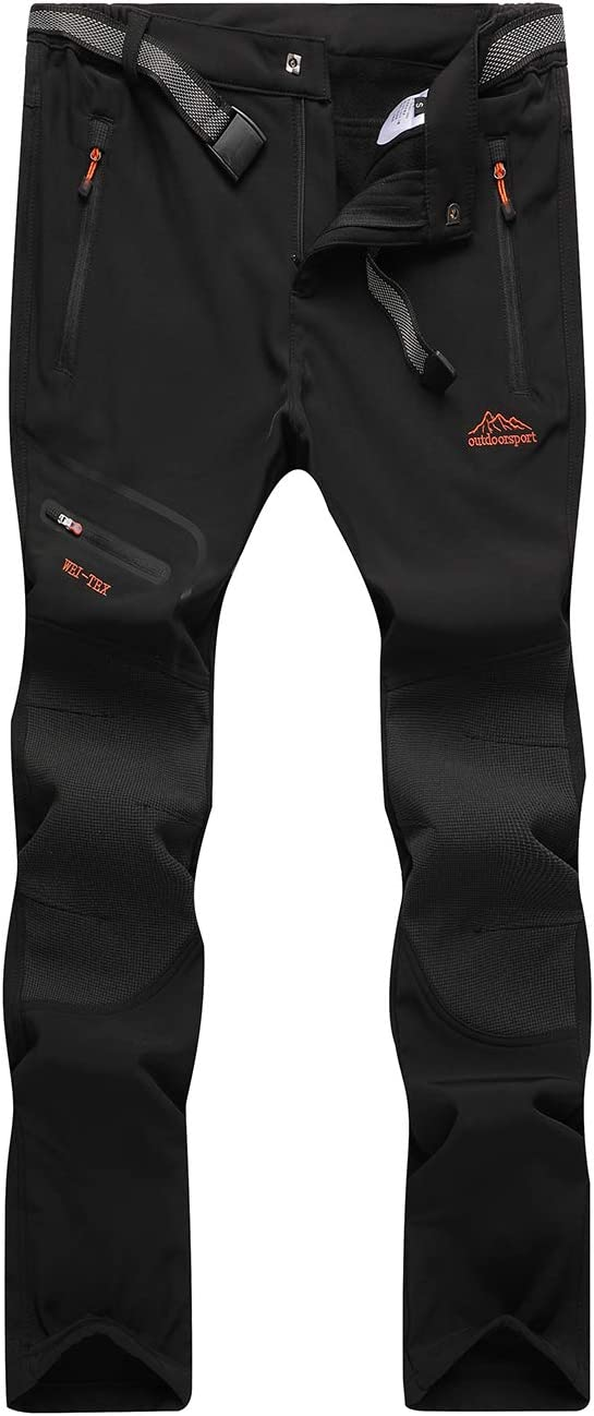DAFENP Pantalones Trekking Hombre Impermeable Pantalones de Escalada Senderismo Alpinismo Invierno Polar Forrado Aire Libre