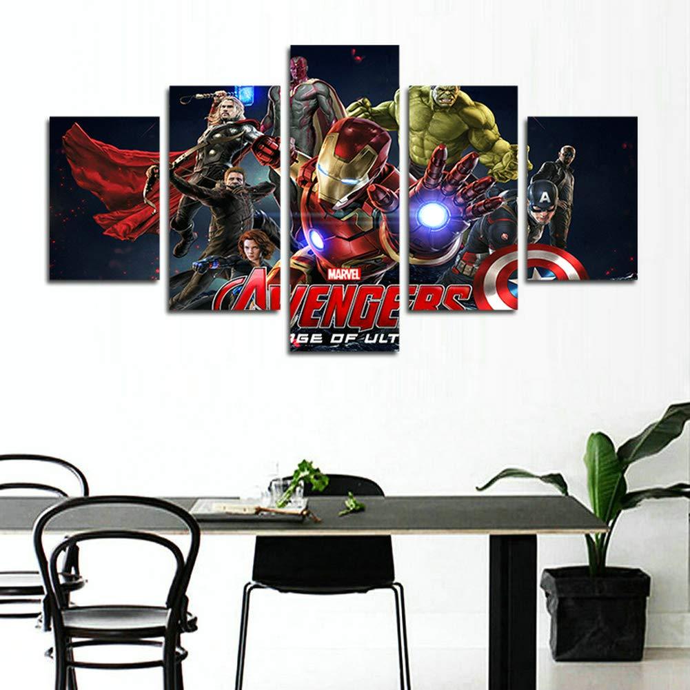 hcozy H.COZY5 Piece Batman DC Comics Superhero Painting for Living Room Home Decor Canvas Art Wall Poster No Frame Unframed SKU-MAX52 50 inch x30 inch/…
