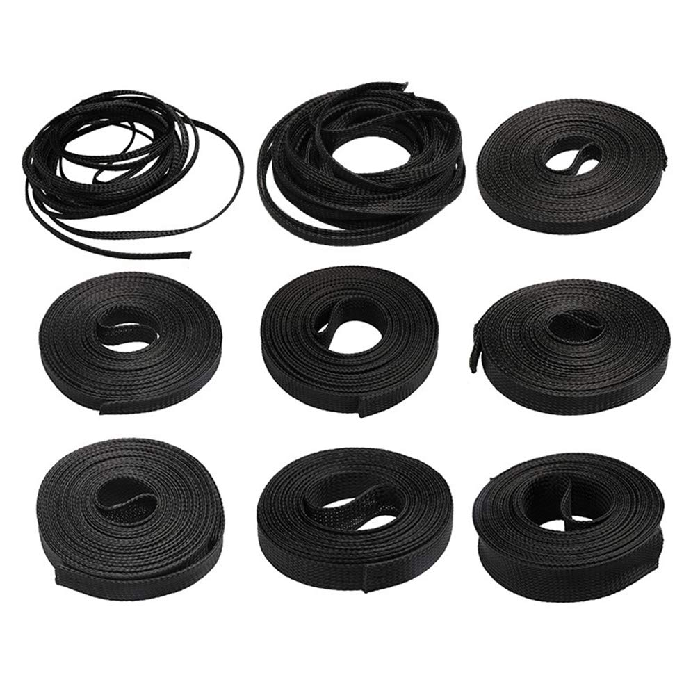 5M Cable Sleeve Black Insulated Braided Sleeve PET Expandable High Density Sheathing 4/6/8/10/12/15/20/25mm Wire Protection