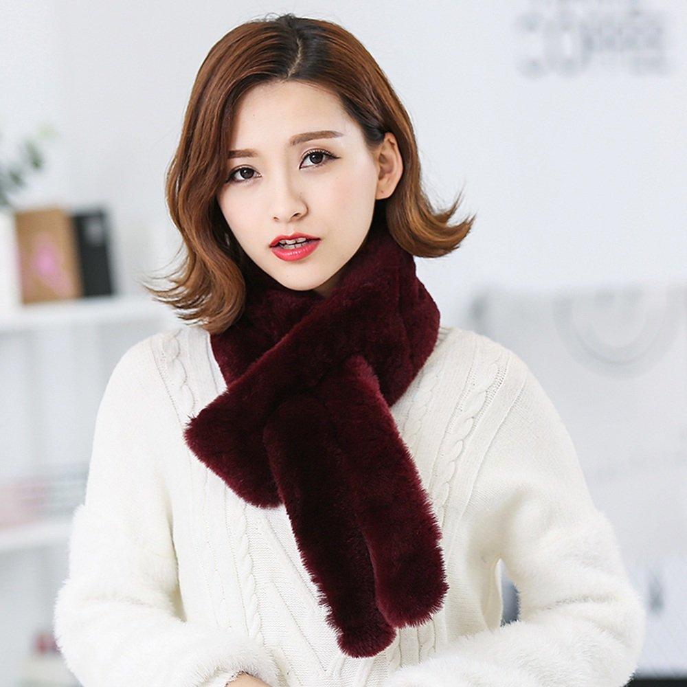 MEIDUO Donna sciarpa in inverno più calda calore all'aria aperta ( Colore : Vino rosso )