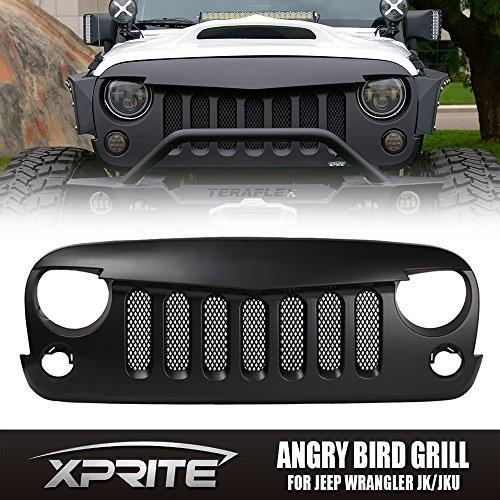Xprite Front Matte Black Angry Bird Grille Grill W/ Built-In Mesh for 2007-2016 Jeep Wrangler JK Rubicon Sahara Sport