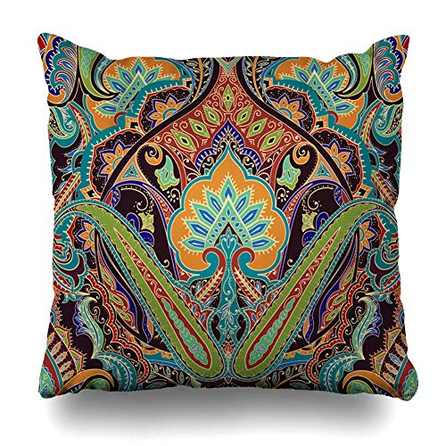 DIYCow Throw Pillows Covers Floral India Paisley Pattern Border Vintage Neckerchief Cushion Case Pillowcase Home Sofa Couch Square Size 20 x 20 Inches Pillowslips ()
