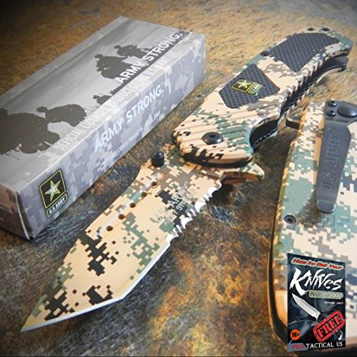 ARMY Spring Assisted Opening TANTO Tactical Folding Pocket Elite Knife DESERT CAMO + free eBook by ProTactical'US