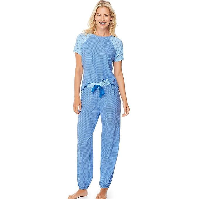 Hanes - Pijama - Manga corta - para mujer Cornflower Blue/Peri XL
