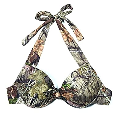 ae68c56377a27 Mossy Oak Womens Camo Swimwear Breakup Country Bikini Halter Top (Small, Camo  Bikini Halter